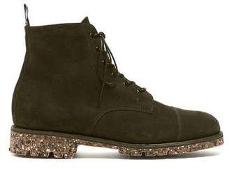 Sanders Suede Lace Up Cap Toe Boot in Olive Green