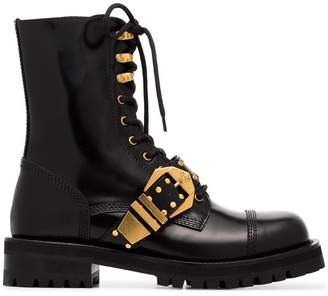 Versace Studded Belt Leather Brogued Boots