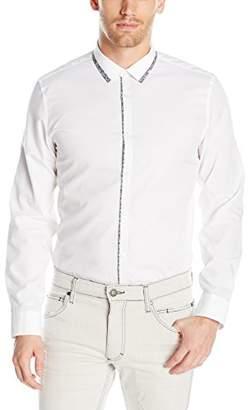 Calvin Klein Men's Slim Fit Long Sleeve Printed Trim Collar Button Down Shirt