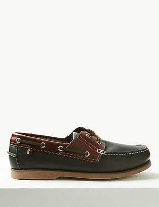 Marks and Spencer Leather Lace-up Boat Shoes with FreshfeetTM
