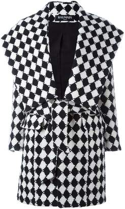 Balmain checked belted coat