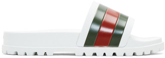 Gucci White Striped Pursuit Trek Slides