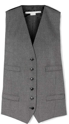 Stella McCartney Satin Jacquard-paneled Wool And Cotton-blend Vest - Black