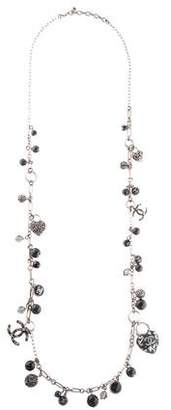 Chanel Enamel Heart Crystal & Resin Long Pendant Necklace