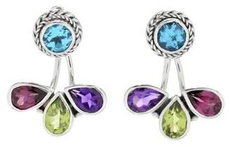Samuel B Jewelry Sterling Silver Bezel Set Multi Semi-Precious Stone Drop Earrings