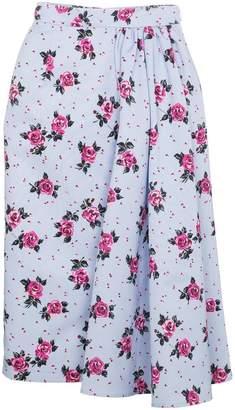 Alessandra Rich Rose Print Asymmetric Skirt