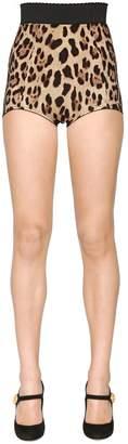 Dolce & Gabbana Leopard Printed Stretch Silk Cady Shorts