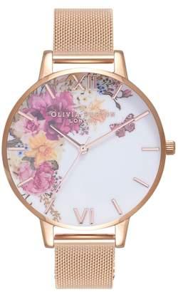 Olivia Burton Enchanted Garden Mesh Strap Watch, 38mm