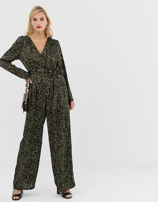 8cd12a2b35c7 Liquorish wrap front jumpsuit in leopard print with tie belt
