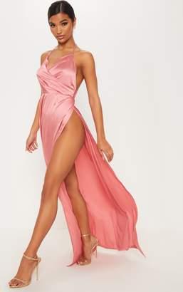 PrettyLittleThing Rose Silky Plunge Extreme Split Maxi Dress