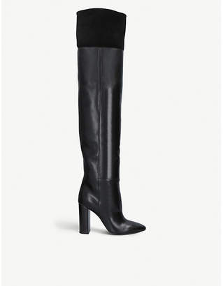 Saint Laurent Lou 95 over-the-knee leather and suede boots