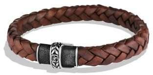 David Yurman Chevron Narrow Woven Leather Bracelet In Black, 8Mm