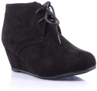 ShoBeautiful Womens Lace Up Wedges Bootie Fashion Casual Outdoor Adorable Almond Toe Ankle Boots 6.5