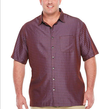 Van Heusen Air Rayon Poly Grid Short Sleeve Button-Front Shirt-Big and Tall
