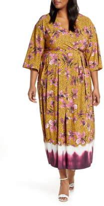 ELOQUII Floral Faux Wrap Dress