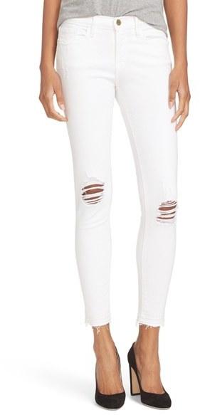 Frame Women's Distressed Release Hem Skinny Jeans
