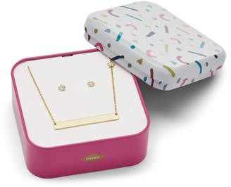 Fossil Star Gold-Tone Stainless Steel Studs and Necklace Box Set