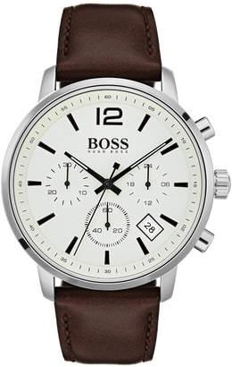 HUGO BOSS BOSS Men's Chronograph Attitude Brown Leather Strap Watch 44mm