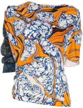 Rosie Assoulin draped off-shoulder print silk blend top