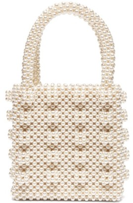 Shrimps Antonia Faux Pearl Embellished Bag - Womens - Cream