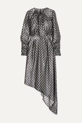 Dodo Bar Or Melodi Tie-neck Asymmetric Metallic Silk-blend Jacquard Dress - Silver