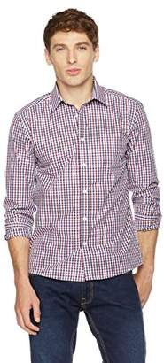 Clifton Heritage Men's Classic Fit Long-Sleeve Spread Collar Gingham Button-Up Shirt XS