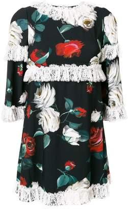 Dolce & Gabbana floral print ruffle trimmed dress