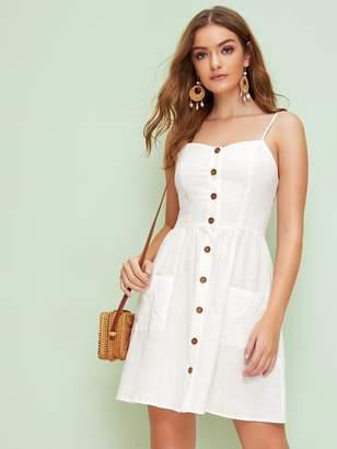 Shein Sweetheart Neck Pocket Front Button Up Tea Dress