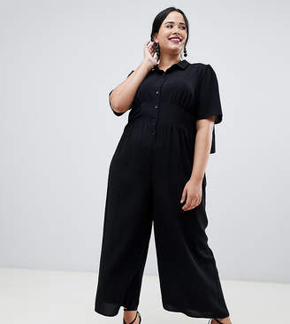 Asos DESIGN Curve shirt tea jumpsuit with open back