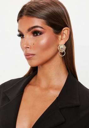 Missguided Gold Look Dangly Chain Earrings