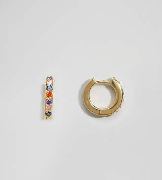 Asos Design DESIGN Sterling silver with gold plate huggie hoop earrings in rainbow crystals