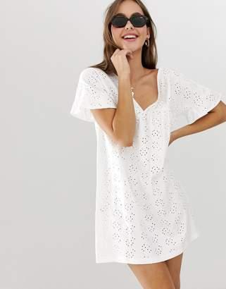 Asos Design DESIGN reversible frill sleeve broderie smock dress