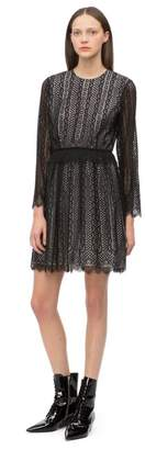 Calvin Klein lace scalloped hem long sleeve dress