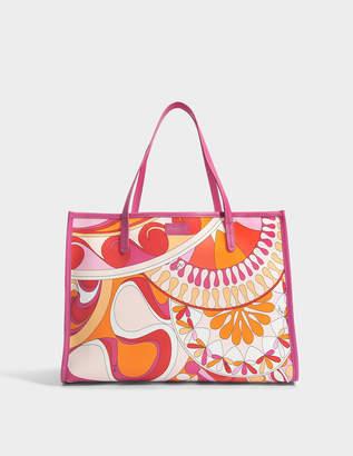 Emilio Pucci Capri Tote Bag in Orange Printed Nylon