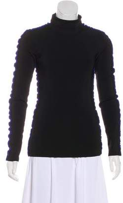 Issa Ruffle-Trimmed Long Sleeve Turtleneck w/ Tags
