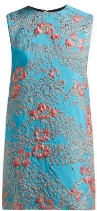 Halpern Floral Brocade Mini Dress - Womens - Blue Multi