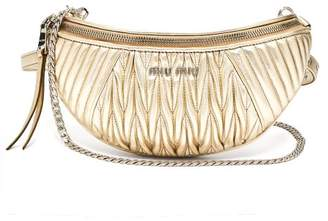 Miu Miu Mattelasse Quilted Leather Belt Bag - Womens - Gold