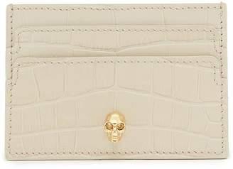 Alexander McQueen Skull croc embossed leather card holder