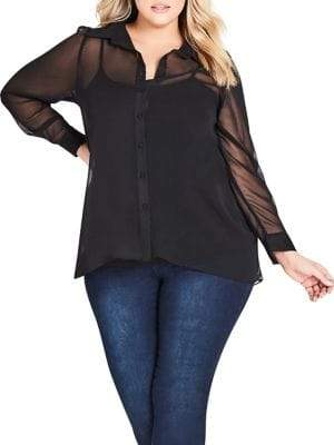 City Chic Plus Dynamic Relaxed-Fit Button-Down Shirt