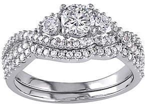 Affinity Diamond Jewelry 3-stone Round Diamond Ring Set, 14K, 1.10 cttw,