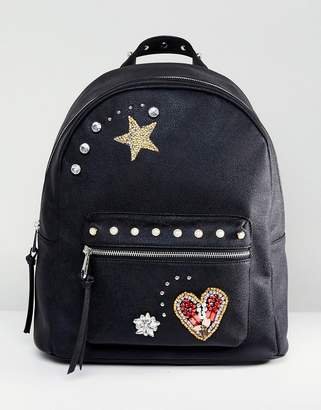 Asos Design Embellished Badge Backpack