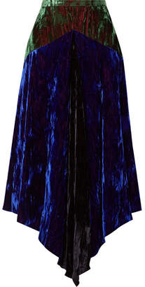 Christopher Kane Asymmetric Paneled Crushed-velvet Midi Skirt - Blue