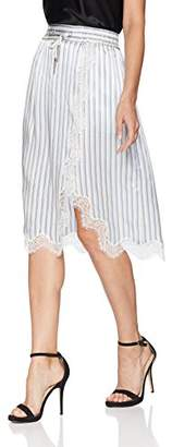 The Kooples Women's Women's Satin Striped Skirt with Lace Detailing