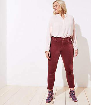 LOFT Plus Velvet Slit Skinny Jeans in Elegant Rose