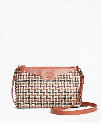 Brooks Brothers Checked Wool Double-Strap Convertible Cross-Body Bag
