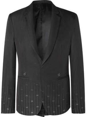 Black Slim-Fit Silk And Wool-Blend Jacquard Suit Jacket