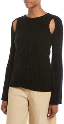 Vince Slit-Shoulder Ribbed Cashmere Sweater