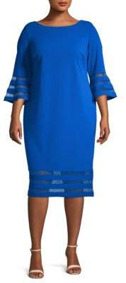 Calvin Klein Plus Striped Illusion Bell Sleeve Dress