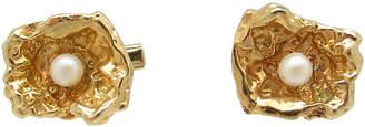 One Kings Lane Vintage Gold Nugget Faux Pearl Cufflinks