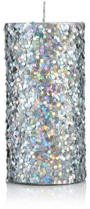 Bloomingdale's Silver Glitter Pillar Candle